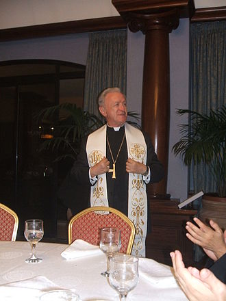 Giovanni Tonucci - Archbishop Giovanni Tonucci (Territorial Prelate of Loreto) at celebrations of the feast of Our Lady of Loreto in Għajnsielem on the occasion of the 25th and 125th anniversaries of the consecration of village's old and new churches. Location of celebration dinner was at the Grand Hotel in Gozo