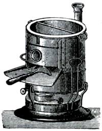 Cross-hatched illustration of a barrel-like stove.