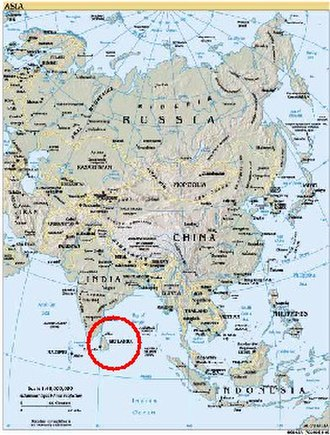 Geography of Sri Lanka - Map of Asia showing the location of Sri Lanka