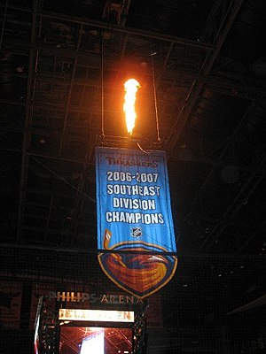 Atlanta Thrashers - Banner in Philips Arena honoring the Thrashers' sole division championship in 2006–2007.