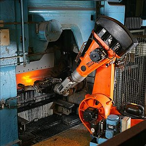 Gimbal lock - Industrial robot operating in a foundry.