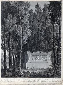 Cénotaphe entouré d'arbres, dont le bas-relief représente une femme allaitant son enfant et lisant l'Émile.