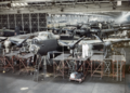 Avro Lancaster bombers nearing completion at the A V Roe & Co Ltd factory, Woodford, Cheshire.png