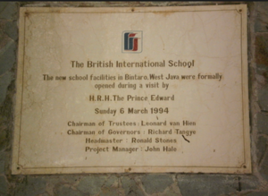 British School Jakarta - A plate marking the visit of H.R.H. Prince Edward in 1994