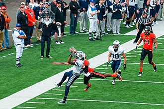 BYU Cougars football - BYU wide receiver Cody Hoffman making a catch at Reser Stadium in Corvallis, Oregon in a 2011 game against Oregon State, which the Cougars won 38–28.