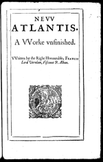 Title page of the 1628 edition of Bacon's New Atlantis