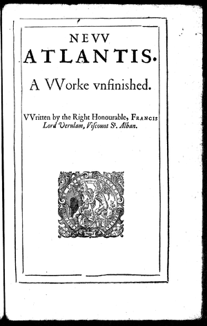 Timeline of science fiction - Title page of the 1628 edition of Bacon's New Atlantis