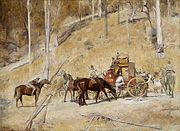 A painting of a horse-drawn coach, by a steep, tree-covered hillside. A felled tree lies across its path. Several armed men are in the process of robbing the passengers and looting the rear trunk.