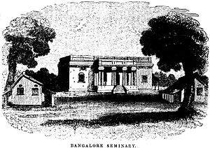 United Theological College, Bangalore - Bangalore Seminary (1843) From the 'Evangelical Magazine and Missionary Chronicle: Vol XXI' (p.193). The London Mission Seminary was established early 19th Century, located at the beginning of Mission Road. This has since been demolished and the land is part of the Mitralaya School Campus