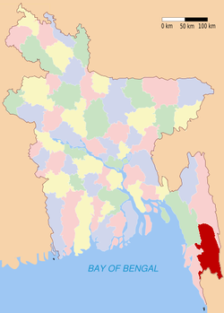 Location of Bandarban in Bangladesh