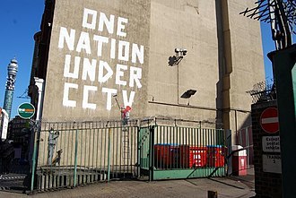 Works by Banksy that have been damaged or destroyed - One Nation Under CCTV in 2008