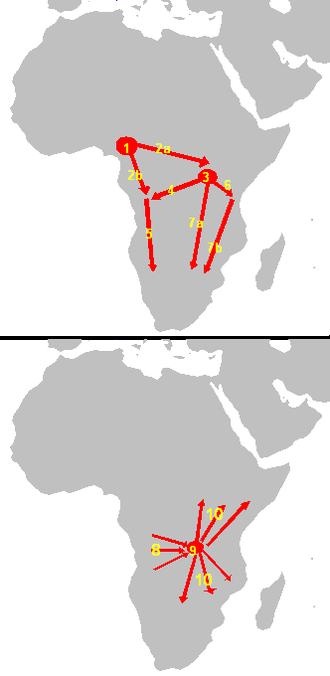 Bantu expansion - Image: Bantu Phillipson
