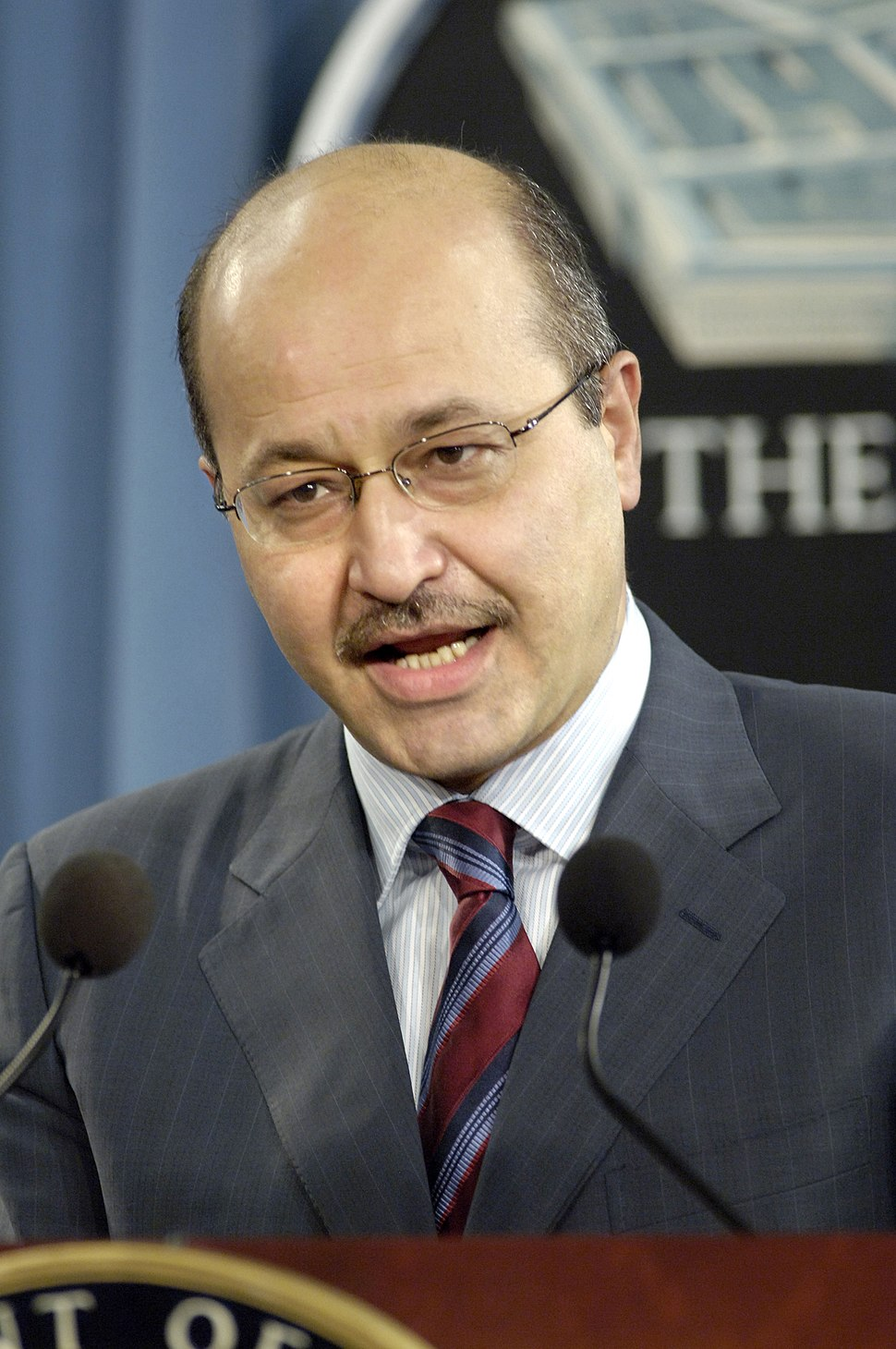 Barham Salih conducts a press conference in the Pentagon on Sept. 14, 2006
