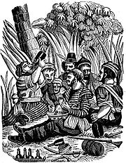 Bartholomew Roberts' crew carousing at the Calabar River. Most of the crew were drunk when the Swallow appeared.