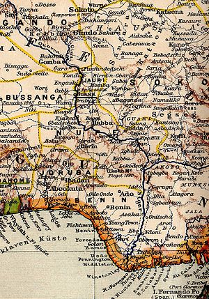 Bussa, Nigeria - Bussa (underlined) on an 1899 map of the Niger river