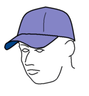 A baseball cap worn with the bill at the front, shading the eyes