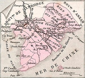 Six Provinces of Southern Vietnam - Map of Southern Vietnam in 1883 as part of French Indochina, however following the administrative divisions of the 1832-1862 Nguyễn Dynasty's Nam Kỳ Lục Tỉnh.