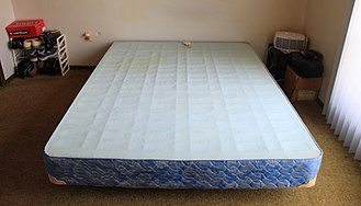 Box-spring - Queen size box-spring on metal bed frame