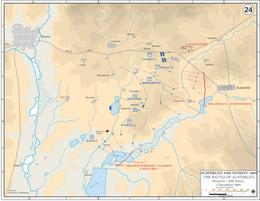 Mapa mostrando o avanço francês em linhas azuis e os exércitos aliados derrotados em linhas vermelhas, afastando-se (para o leste) do campo de batalha.