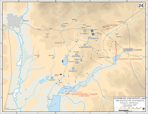 By 1400 hours, the Allied army had been dangerously separated. Napoleon now had the option to strike at one of the wings, and he chose the Allied left since other enemy sectors had already been cleared or were conducting fighting retreats. Battle of Austerlitz - Situation at 1400, 2 December 1805.gif