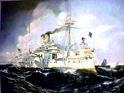 Battleship Maine litho