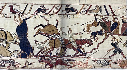 Scene from the Bayeux Tapestry depicting the Battle of Hastings. Bayeux Tapestry Horses in Battle of Hastings.jpg