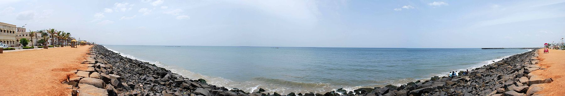 Panorama view of Pondicherry beach