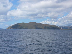 Beef Island - Beef Island, the view from east of the island.  The airport is located on the flatter land to the right.