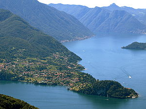 Bellagio, Lombardy - A view over Bellagio looking along the Como arm of the lake.