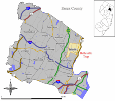 Map of Essex County Highlighting the Location of Belleville Township