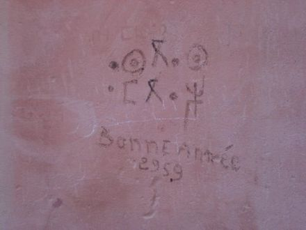 "Photo taken on 31 December 2007 near Tafraout (Morocco), with the writings aseggas ameggaz (""good year"") in Tifinagh and bonne annee 2959 (""good year 2959"") in French. Note the 1-year mistake, as 2959 corresponds to the Gregorian year 2009. Berber new year.jpg"