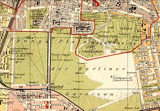 Tempelhofer Feld - Excerpt from the supplement to the address book for Berlin and its suburbs, 1907; also highlighted is the Paradepappel