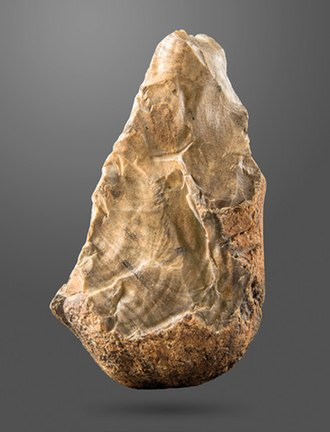 Stone tool - A Biface (trihedral) from Amar Merdeg, Zagros foothills, Lower Paleolithic, National Museum of Iran