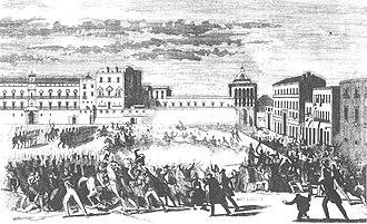Sicilian Parliament - Popular revolt in front of the Sicilian parliament in 1848