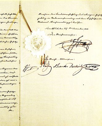 German Empire (1848–49) - Introductory law of the Basic Rights, December 27, 1848, with the signature of the Imperial Regent