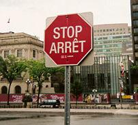 Bilingual stop sign in Ottawa, Ontario