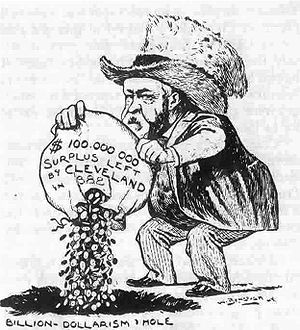 "51st United States Congress - Benjamin Harrison and the Congress are portrayed as a ""Billion-Dollar Congress,"" wasting the surplus in this cartoon from Puck."