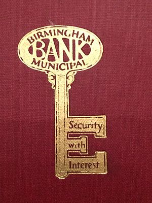 "Birmingham Municipal Bank - Logo, from the cover of a 1927 book ""Britain's first Municipal Savings Bank- The romance of a great achievement"" by J P. Hilton."