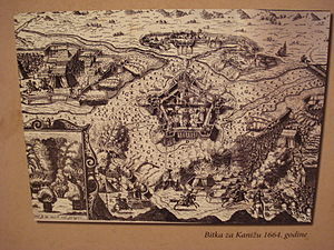 Kanije Eyalet - Contemporary depiction of the unsuccessful siege of Kanizsa in May 1664, undertaken by Christian forces led by Nikola VII Zrinski, Ban (Viceroy) of Croatia, general Hohenlohe-Neuenstein and general Peter Strozzi