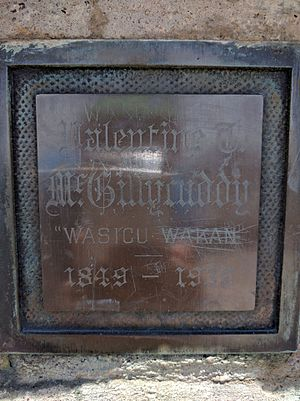 "Valentine McGillycuddy - Plaque on Black Elk Peak engraved with the words Valentine T. McGillycuddy ""Wasicu Wakan"" 1849–1939."