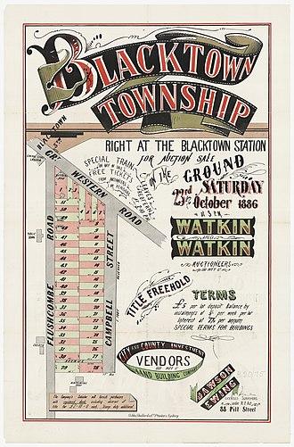 Blacktown - Blacktown Township, 1886, subdivision plan.