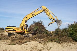 Hydraulic cylinder - The hydraulic cylinders on this excavator operate the machine's linkages.