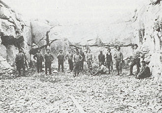 Boden Fortress - Workers on break from their blasting duties during construction of one of the forts.
