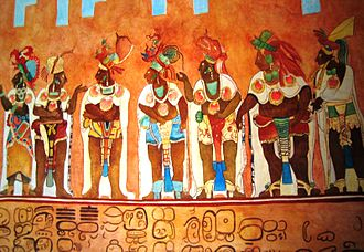 Mary Miller (art historian) - Example reproduction of a section of the Bonampak Murals as commissioned by Professor Mary Miller and completed by artists Heather Hurst and Leonard Ashby of the Bonampak Documentation Project. The infrared images captured by this project revealed portions of the murals that were not visible to the naked eye due to erosion or otherwise destroyed by previously botched restoration attempts. In this way, Hurst and Ashby were able to create very detailed reproductions.