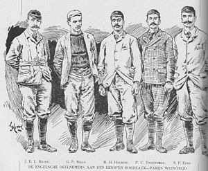 Selwyn Edge - S F Edge (far right) in the English Cycle Team, Bordeaux-Paris 1891 won by Mills second from left