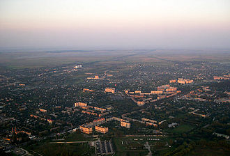 Kiev Oblast - Aerial view of Boryspil, home of the Boryspil Airport from an airplane.
