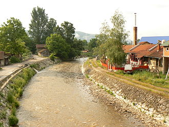 Dragovištica - Božička River passing through Bosilegrad, Serbia