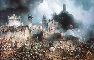 Battle of Solferino - French infantry advances (by Carlo Bossoli)