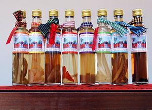 Rice wine - Bottles of Sombai (Cambodian infused rice wine / liqueur).