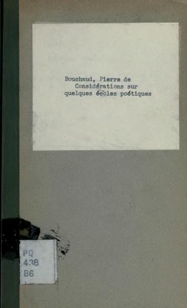 File:Bouchaud - Considérations sur quelques écoles poétiques contemporaines, 1903.djvu